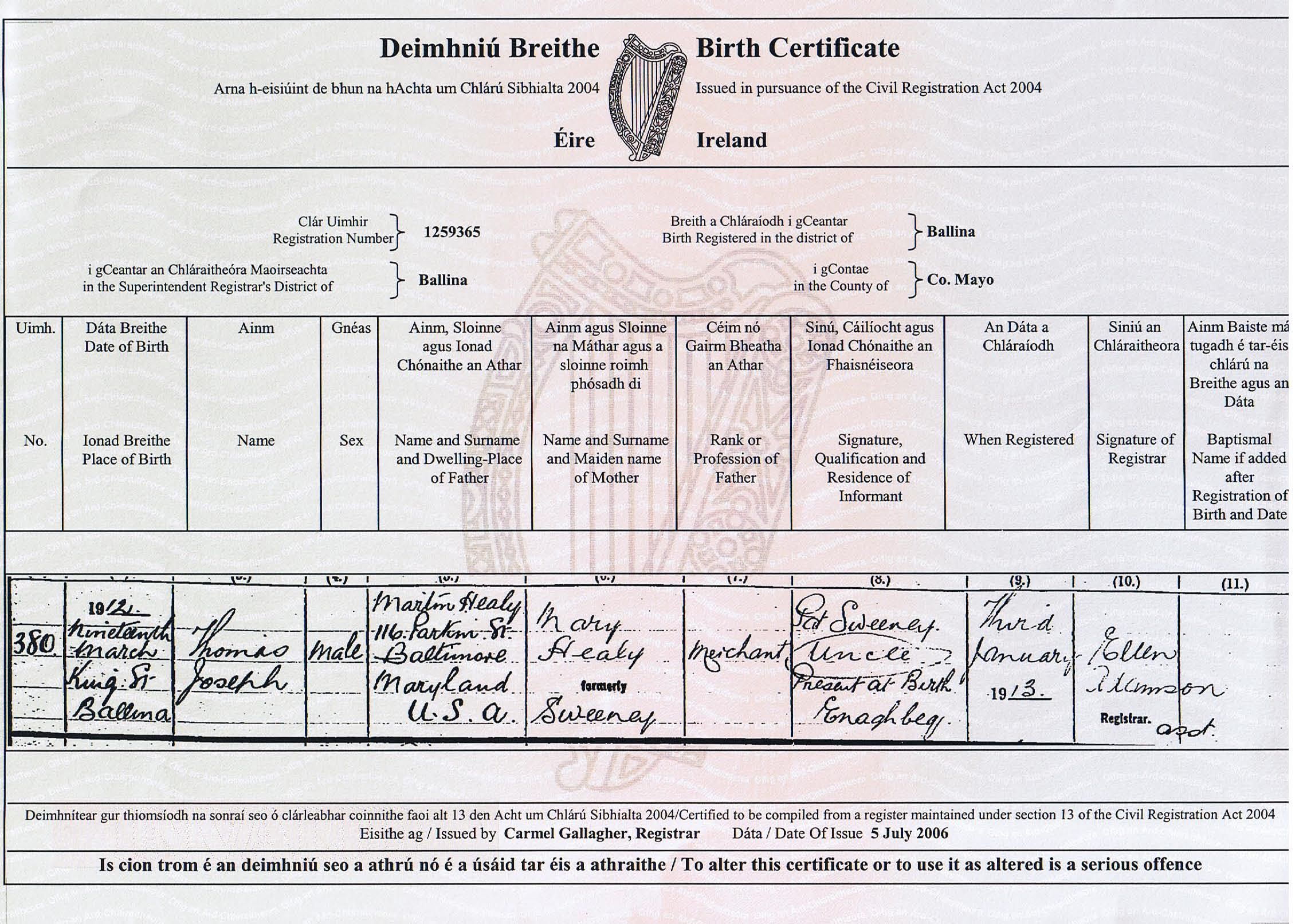 The irish paper chase becomes more expensive an irishmans irish birth certhealythomas aiddatafo Image collections
